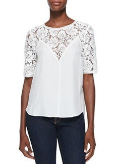 Lace-Top Silk Blouse   Lace-Top Silk Blouse