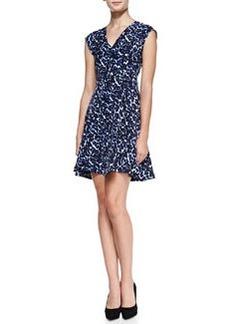 Lynx-Print Flared V-Neck Dress   Lynx-Print Flared V-Neck Dress