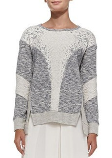 Mixed-Fabric Patchwork Pullover Sweater   Mixed-Fabric Patchwork Pullover Sweater