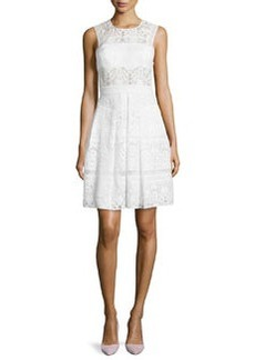 Mixed-Lace Sleeveless Cocktail Dress, Chalk   Mixed-Lace Sleeveless Cocktail Dress, Chalk