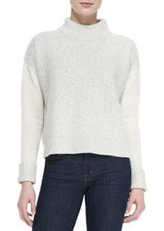 Mixed-Pattern Knit Mock-Neck Sweater   Mixed-Pattern Knit Mock-Neck Sweater