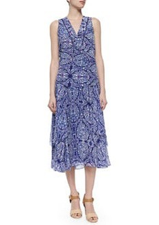 Mixed-Print Layered Midi Skirt, Indigo Combo   Mixed-Print Layered Midi Skirt, Indigo Combo