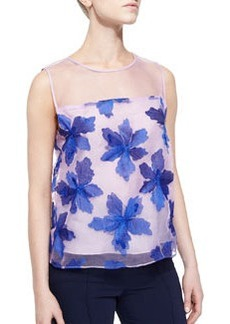 Organza Floral-Applique Sleeveless Top   Organza Floral-Applique Sleeveless Top