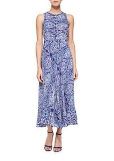 Paisley-Combo Sleeveless Dress, Indigo   Paisley-Combo Sleeveless Dress, Indigo