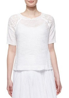 Patchwork Textured Short-Sleeve Top, Chalk   Patchwork Textured Short-Sleeve Top, Chalk