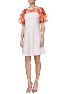 Rebecca Taylor A-Line Dress with Organza Applique Top