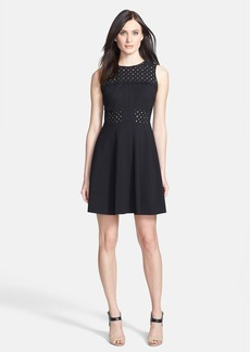 Rebecca Taylor 'Aline' Eyelet Accent Fit & Flare Dress