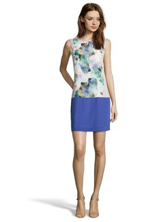 Rebecca Taylor aqua combo colorblock floral printed silk sleeveless shift dress