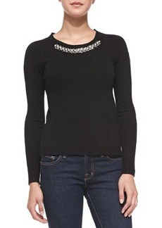 Rebecca Taylor Bead-Neck Knit Pullover