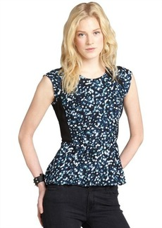 Rebecca Taylor black and blue glitter printed peplum top