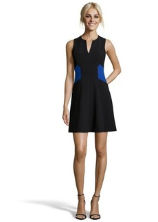 Rebecca Taylor black and blue stretch woven colorblock fit and flare dress