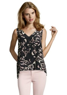 Rebecca Taylor black and cream silk floral printed sleeveless blouse