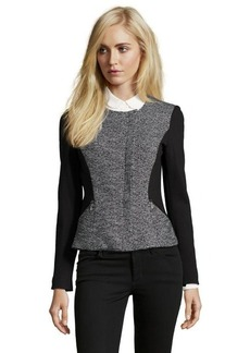 Rebecca Taylor black and white tweed and twill leather trimmed front zip jacket