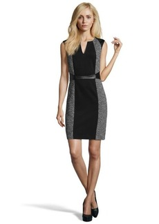 Rebecca Taylor black and white tweed, twill and leather keyhole v-neck dress