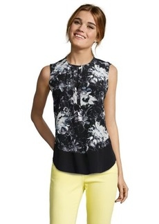 Rebecca Taylor black combo silk 'Snow Flower' printed henley blouse