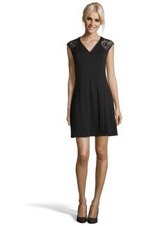 Rebecca Taylor black ponte knit v-neck lace cap sleeve dress