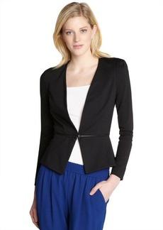 Rebecca Taylor black ponte zip bottom blazer