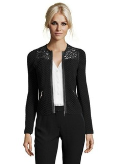 Rebecca Taylor black quilted jacquard lace accent jacket