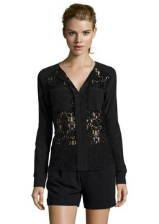 Rebecca Taylor black woven silk and lace long sleeve blouse