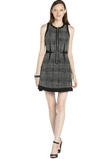 Rebecca Taylor black woven silk panel printed front zip sleeveless dress