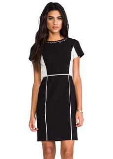Rebecca Taylor Blocked Dress w/ Embellishment in Black