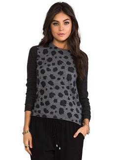 Rebecca Taylor Blocked Leopard Pullover Sweater in Charcoal