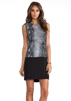Rebecca Taylor Blocked Python Sleeveless Shift Dress in Gray