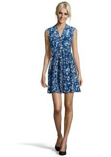 Rebecca Taylor blue combo printed chiffon 'Dream Flower' pleated front dress