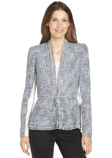 Rebecca Taylor blue cotton blend tweed and chain trim blazer