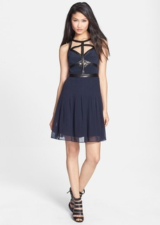 Rebecca Taylor 'Caged' Silk & Leather A-Line Dress