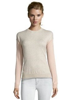 Rebecca Taylor camel and rose knit colorblock crewneck sweater