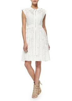 Rebecca Taylor Cap-Sleeve A-Line Lace Dress
