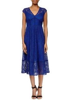 Rebecca Taylor Cap-Sleeve Lace Midi Dress