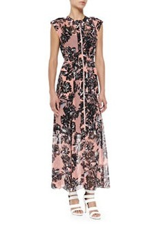 Rebecca Taylor Cap-Sleeve Splashed Flower Maxi Dress