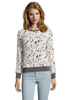 Rebecca Taylor charcoal and créme floral boucle knit cotton blend sweatshirt