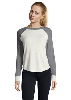 Rebecca Taylor charcoal and ivory cotton raglan sleeve pullover