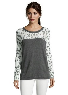 Rebecca Taylor charcoal leopard print colorblocked knit sweater