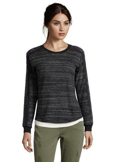 Rebecca Taylor charcoal space dye knit lace trim pullover