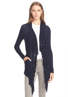 Rebecca Taylor 'Checker' Fringed Drape Front Knit Cardigan