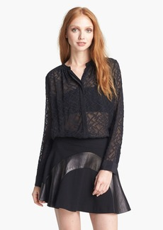Rebecca Taylor 'Clip Dot' Silk & Cotton Blouse