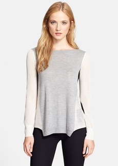 Rebecca Taylor Colorblock Mesh Sleeve Pullover
