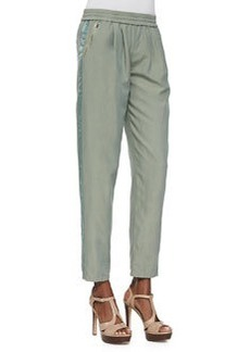 Rebecca Taylor Cropped Twill Pull-On Pants, Army