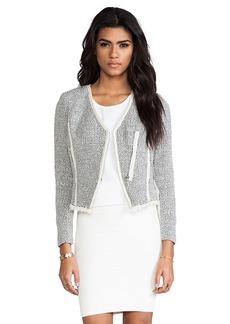 Rebecca Taylor Cutaway Tweed Jacket in Gray