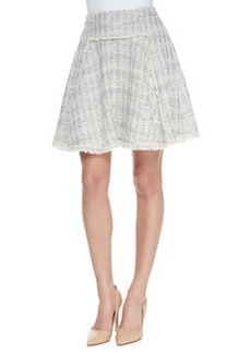 Rebecca Taylor Diamond-Pattern Fringe-Trim Tweed Skirt