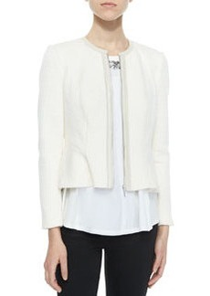 Rebecca Taylor Double-Face Knit Ruffle Jacket