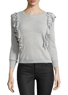 Rebecca Taylor Double-Ruffle Pullover Sweater, Pale Gray