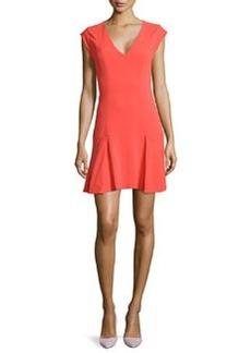 Rebecca Taylor Dropped-Skirt V-Neck Dress