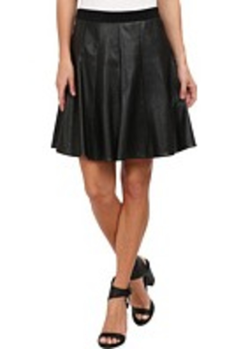 faux leather flounce skirt