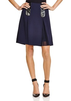 Rebecca Taylor Faux Leather-Trimmed Skirt
