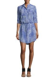 Rebecca Taylor Fever Leopard-Print Drawstring Shirtdress
